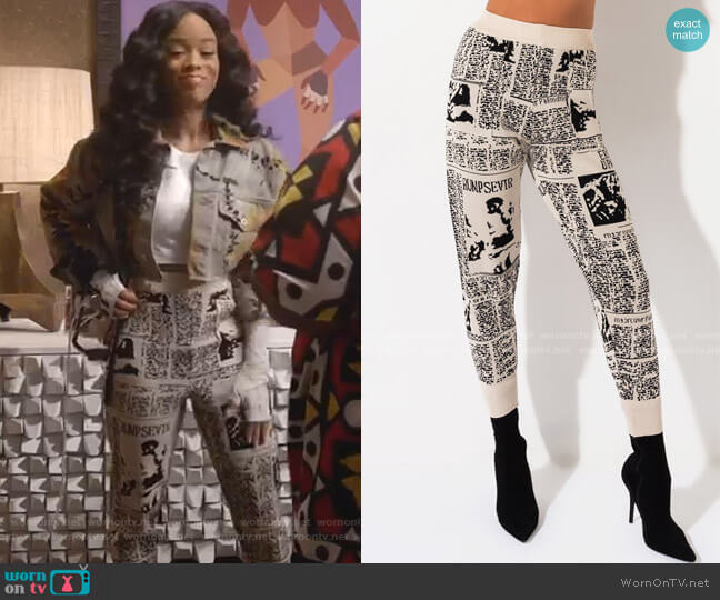 Head Lines Print Jogger Pant by Akira Label worn by Tiana Brown (Serayah McNeill) on Empire
