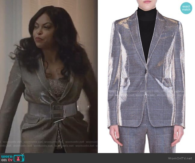 Metallic Glen Check Jacket by Akris punto worn by Cookie Lyon (Taraji P. Henson) on Empire