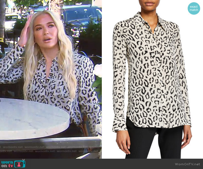 Emerson Emerson Printed Button-Down Top by A.L.C. worn by Erika Girardi  on The Real Housewives of Beverly Hills