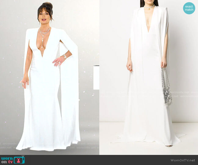 Plunge Style Layered Cape Dress by Alex Perry worn by Kyle Richards  on The Real Housewives of Beverly Hills