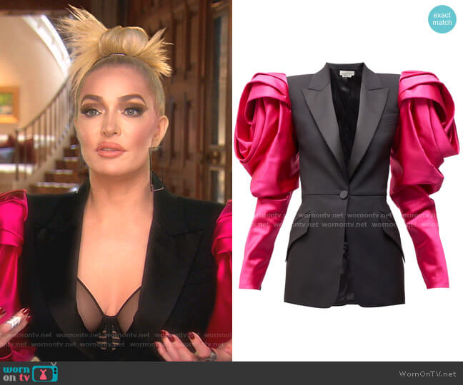 Exaggerated Shoulder Blazer by Alexander McQueen  worn by Erika Girardi  on The Real Housewives of Beverly Hills