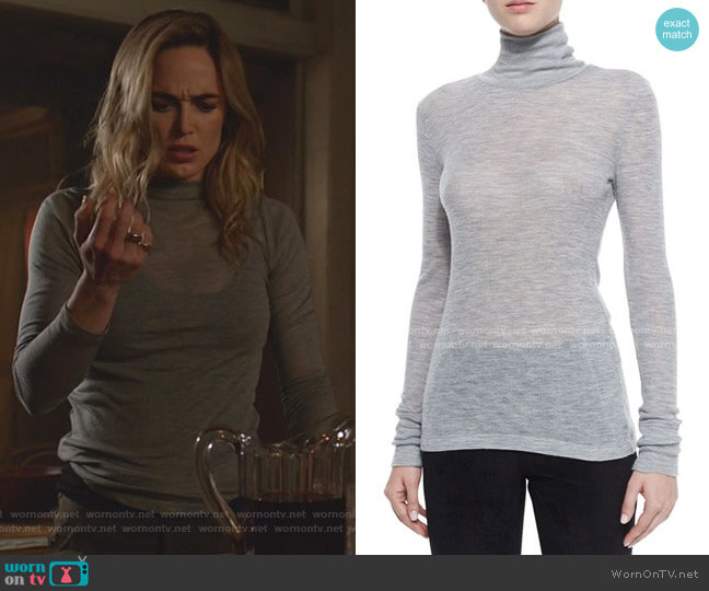 Sheer Wooly Ribbed Turtleneck by T by Alexander Wang worn by Sara Lance (Caity Lotz) on Legends of Tomorrow