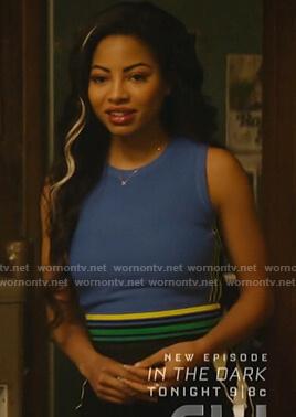 Alexandra's blue striped trim sleeveless top on Katy Keene