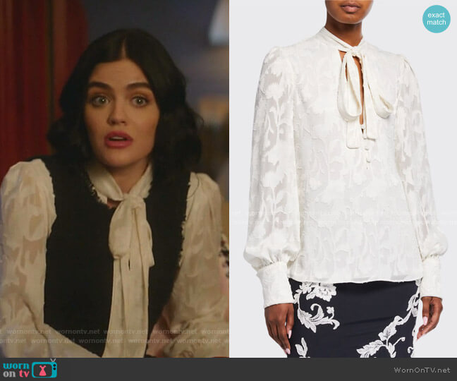Julita Tie-Neck Jacquard Blouse by Alexis worn by Katy Keene (Lucy Hale) on Katy Keene