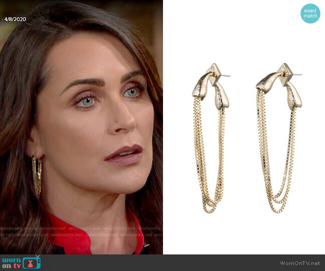 Alexis Bittar Snake Chain Earrings worn by Quinn Fuller (Rena Sofer) on The Bold & the Beautiful