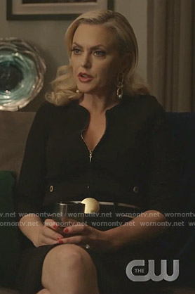 Alexis's black zip front jacket and skirt on Dynasty