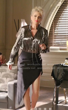 Alexis' metallic tie neck blouse and asymmetric skirt on Dynasty