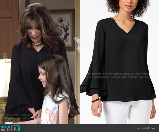 Bell-Sleeve Blouse by Alfani worn by Esther Valentine (Kate Linder) on The Young & the Restless