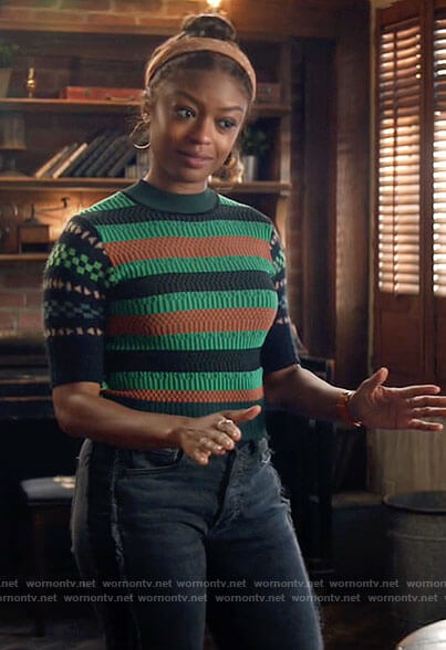 Ali's green geometric print sweater on God Friended Me