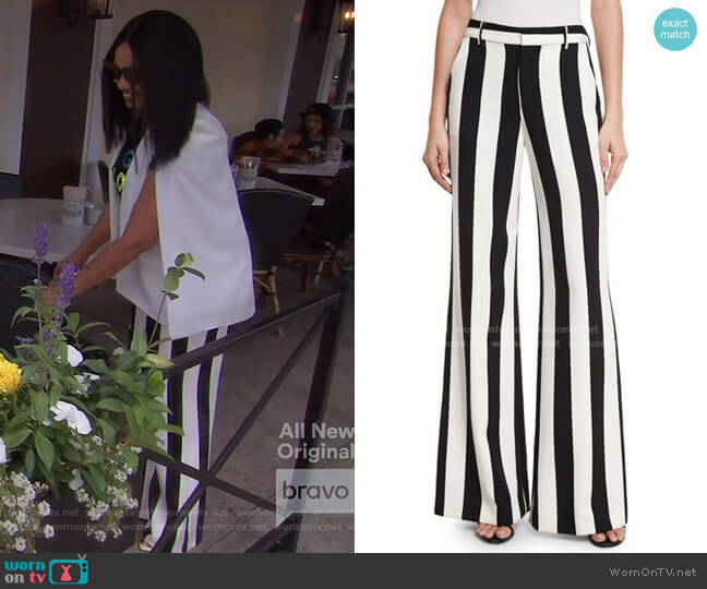Paulette Striped Wide-Leg Pants by Alice + Olivia worn by Garcelle Beauvais  on The Real Housewives of Beverly Hills