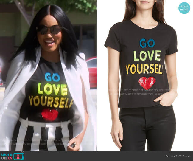 Rylyn Go Love Yourself Sparkle Tee by Alice + Olivia worn by Garcelle Beauvais  on The Real Housewives of Beverly Hills