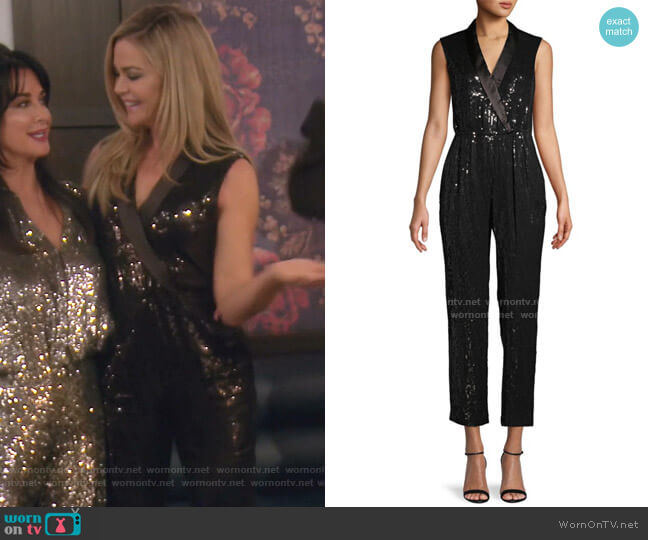 Sequin Embellished Jumpsuit by Alice + Olivia worn by Denise Richards  on The Real Housewives of Beverly Hills