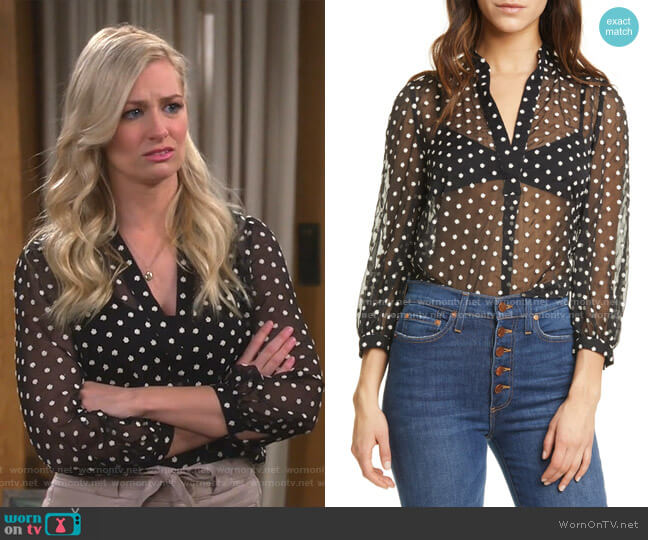 Sheila Embroidered Sheer Blouse by Alice + Olivia worn by Gemma (Beth Behrs) on The Neighborhood