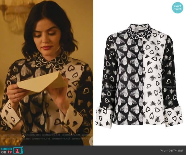 Silk Heart Print Blouse by Alice + Olivia worn by Katy Keene (Lucy Hale) on Katy Keene