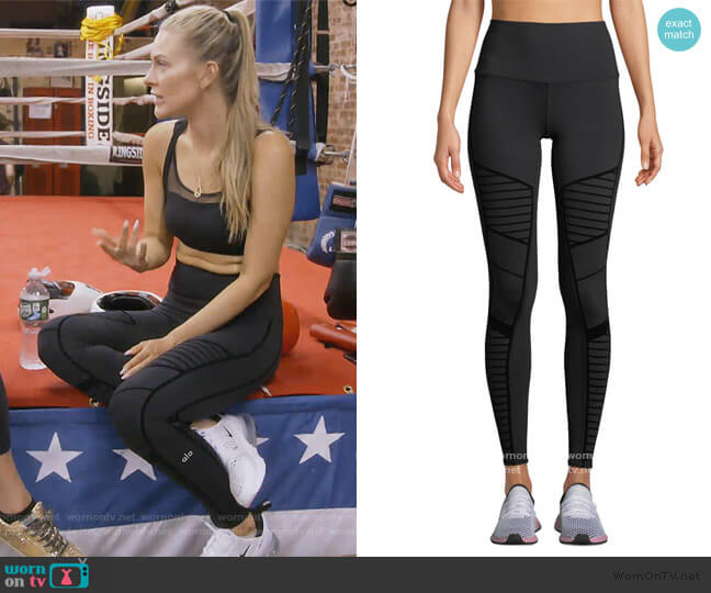 Flocked High-Waist Moto Leggings by Alo Yoga worn by Leah McSweeney  on The Real Housewives of New York City