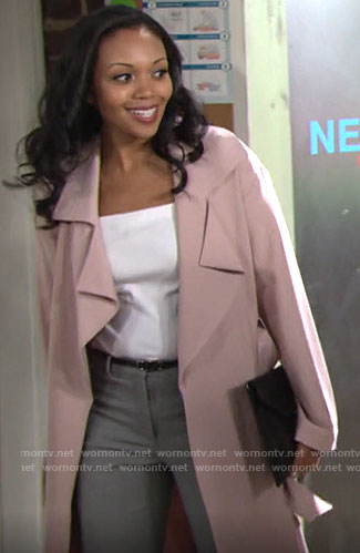 Amanda's pink trench coat on The Young and the Restless