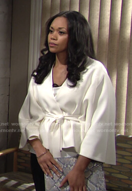 Amanda's white wrap jacket on The Young and the Restless