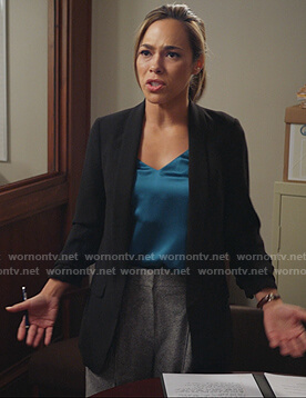 Emily's black ruched sleeve blazer on All Rise