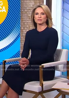 Amy's navy knit midi dress on Good Morning America