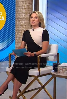 Amy's black and white colorblock dress on Good Morning America