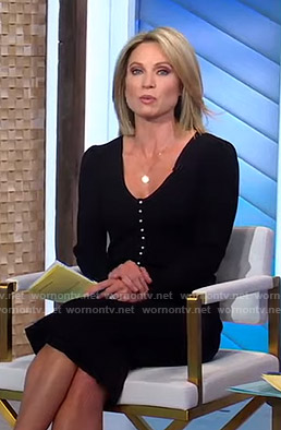 Amy's black pearl button dress on Good Morning America