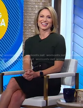 Amy's dark green sweater and black pencil skirt on Good Morning America