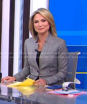 Amy's grey plaid blazer on Good Morning America
