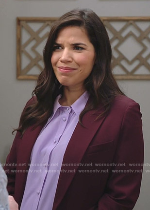 Amy's lilac button down blouse on Superstore