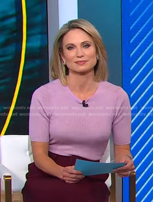 Amy's lilac ribbed short sleeve top on Good Morning America