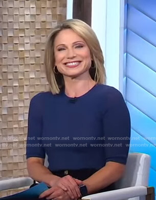 Amy's navy short sleeve knit top on Good Morning America