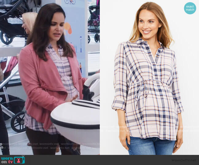 Plaid Button Front Maternity Shirt by A Pea in The Pod worn by Amy Santiago (Melissa Fumero) on Brooklyn Nine-Nine