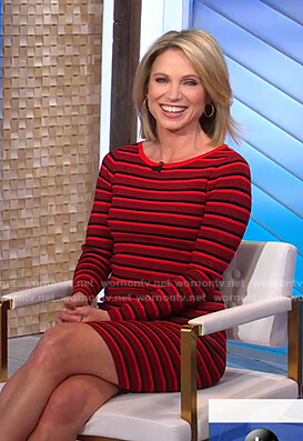 Amy's red striped ribbed dress on Good Morning America