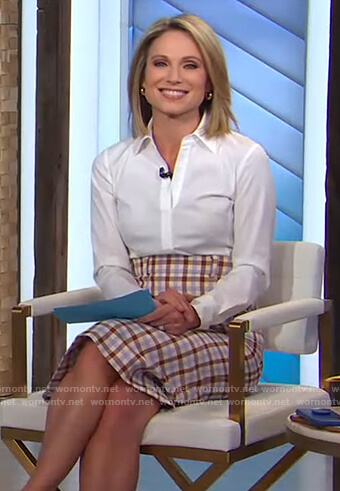 Amy's white shirt and check skirt on Good Morning America