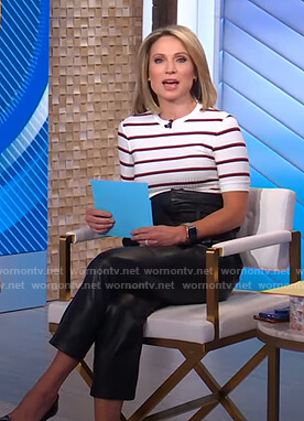 Amy's white striped tee and leather pants on Good Morning America