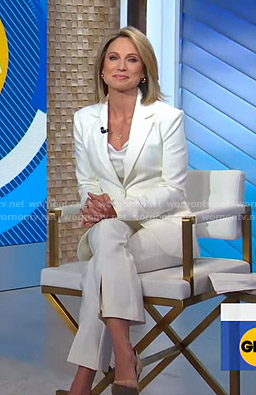 Amy's white suit and cowl neck camisole on Good Morning America