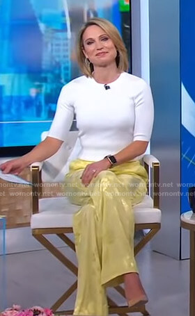 Amy's yellow floral pants on Good Morning America