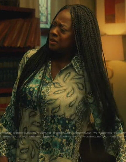 Annalise's blue paisley print blouse on How to Get Away with Murder