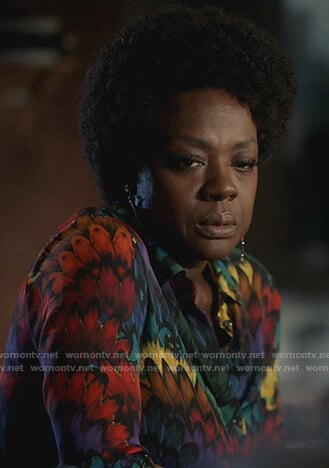 Annalise's multicolored feather print blouse on How to Get Away with Murder