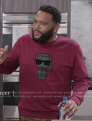 Andre's purple printed sweatshirt on Black-ish