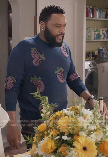 Andre's blue fruit print sweater on Black-ish
