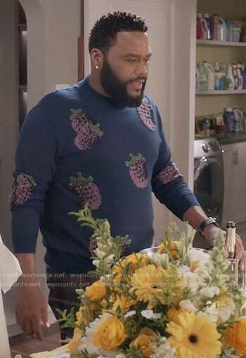 Andre's blue fruit print sweater on Black-ish