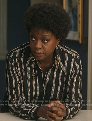 Annalise's black chain print blouse on How to Get Away with Murder