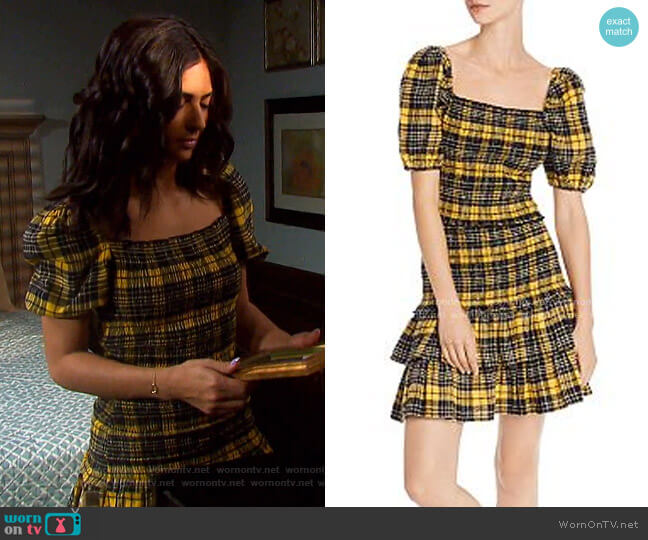 Puff-Sleeve Plaid Smocked Top & Flannel Skirt by Aqua worn by Gabi Hernandez (Camila Banus) on Days of our Lives