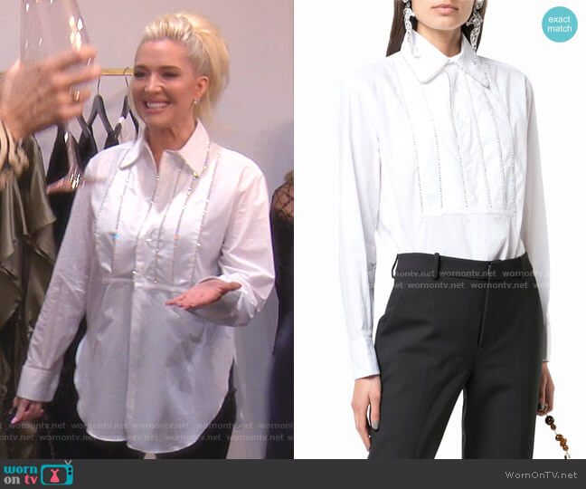 Crystal Embellished Shirt by Area worn by Erika Girardi  on The Real Housewives of Beverly Hills
