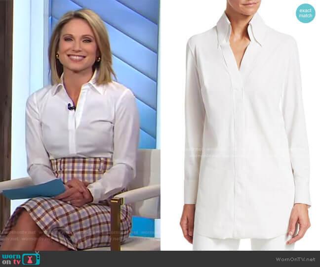 Atena Longline Blouse by Chiara Boni La Petite Robe worn by Amy Robach  on Good Morning America