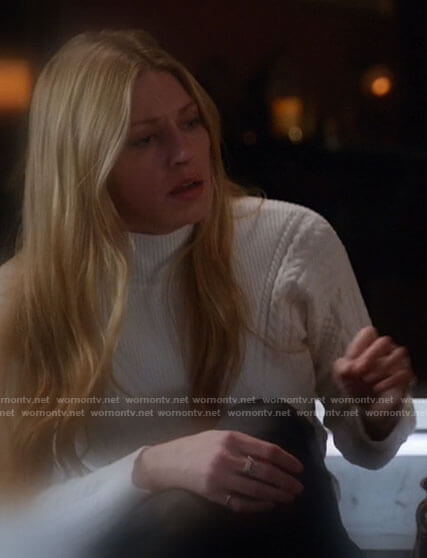 Ava's white chevron cable knit sweater on Legends of Tomorrow