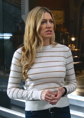Ava's white striped sweater on Legends of Tomorrow