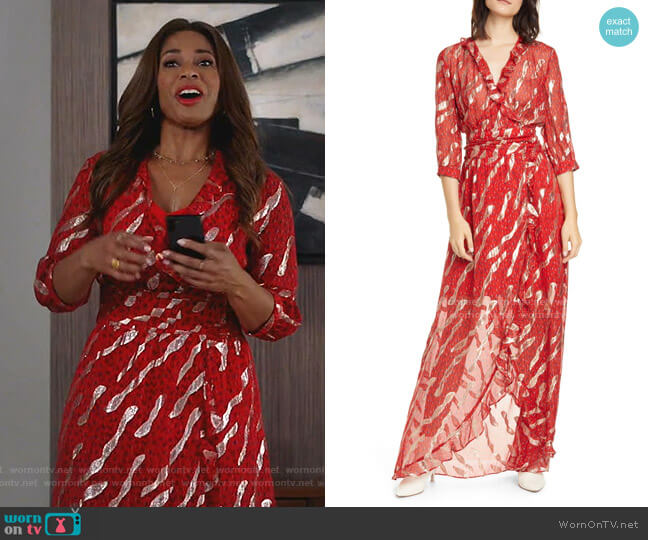 Hali Metallic Print Silk Blend Maxi Dress by Ba&Sh worn by Poppy (Kimrie Lewis) on Single Parents