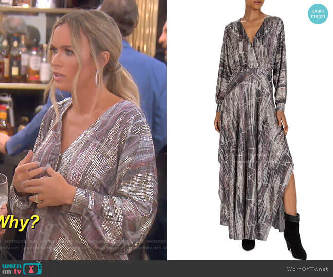 Santana Metallic Maxi Dress by Ba&Sh worn by Teddi Mellencamp Arroyave  on The Real Housewives of Beverly Hills