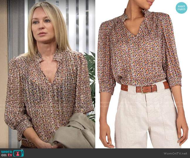 ba&sh Dalas Blouse worn by Sharon Collins (Sharon Case) on The Young & the Restless